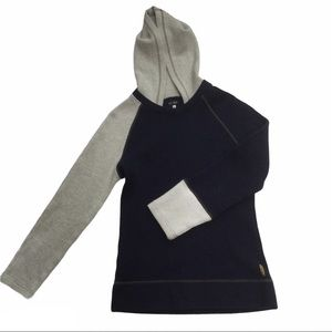 ARMANI JEANS Colour block hoodie (navy and grey)